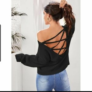 Trending ⚫ bare back back sweater by Shein